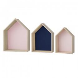 Etagères maisons bois blooimingville bleu rose (set de 3)